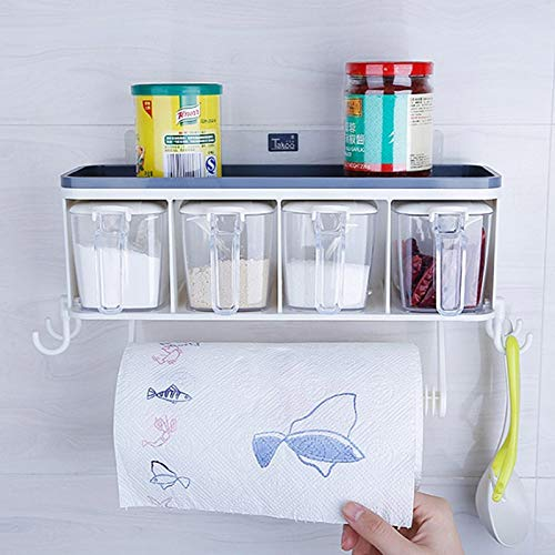 Herb & Spice Tools   Wall-Mounted Spices Storage Jars Plastic Clear Acrylic Salted Sugar Pepper Bottles With Spoon Rack Sets Kitchen Seasoning Box   By ATUTI by ATUTI