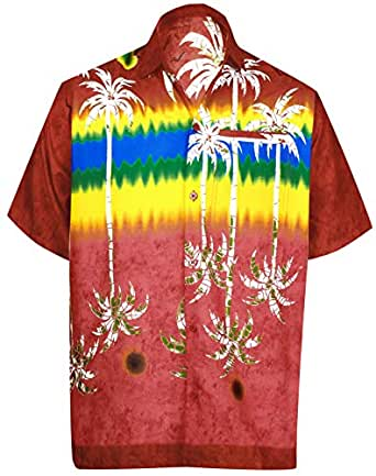 "LEELA Likre Men's Hawaiian Shirt Red 272 X-Small | Chest 36"" - 38"""