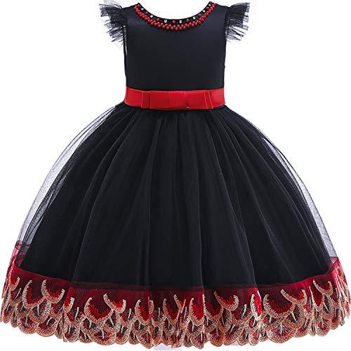 Baby Girls 3D Flower Embroidery Silk Princess Dress for Wedding Party Kids Dresses,Black,9 -