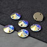 12mm SWAROVSKI 3200 Rivoli Sew On Rhinestone by 6 PCS, Crystal AB