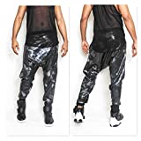 Hunter Green Mini Sequin in a Camoflouge Print Harem Jogger Drop Crotch Sequin Pant Balmain Concert Edm holiday shinny