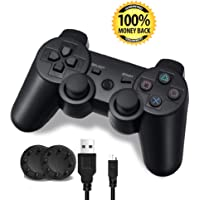 PS3 Controller, Wireless PS3 Controller Double Vibration Game Remote Control Joystick Joypad for PS3 with Charger Cable…