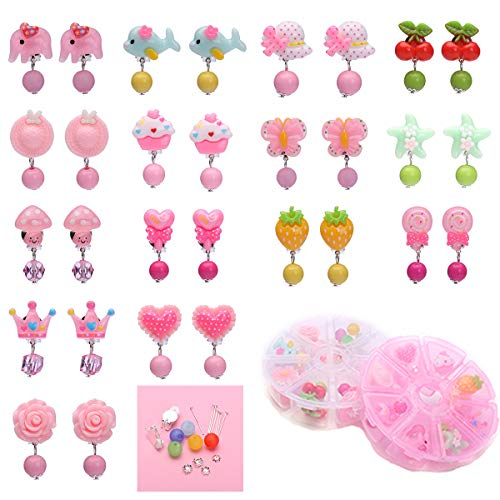 Barabum 15 Pairs Clip on Earrings for Girls Play Earrings Toys for Party Favor, All Packed in 2 Boxes with DIY Accessories