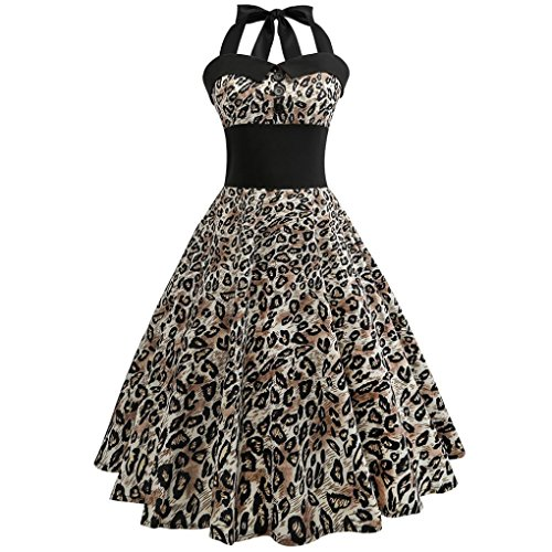 Price comparison product image Women Dress,  Ninasill  Hot Sale ! Vintage Floral Printed Bodycon Sleeveless Casual Cocktail Prom Dress Skirt Blouse Tops (S, Yellow)