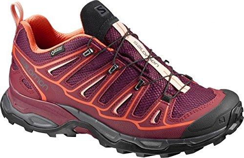 Salomon Women's X Ultra 2 GTX W Trail Runner, Fig/Tibetan Red/Flame, 6 B US by Salomon