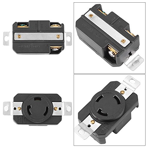 30a 125v Locking Connector - Locking Receptacle Industrial Grade NEMA L5-30R 30A 125V Twist Lock Electrical Female Receptacle for Generator Cord Assembly Industrial Grade Grounding Flush Mounting Power Generator Receptacle