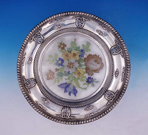 (Rose Point by Wallace Sterling Silver Plate w/Glass and Needlework Pattern #3134 )