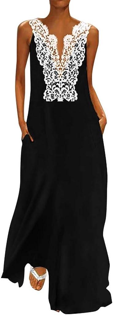 F/_Gotal Womens Dresses Summer Casual Split Hem Long Maxi Tank Dress Bohemia Beach Sundress Party Cocktail