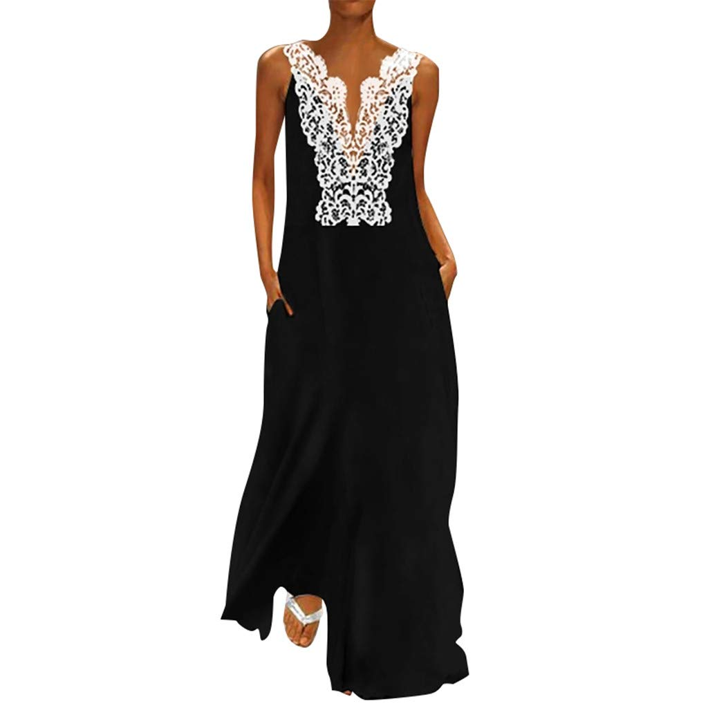 Nmch Lace Patchwork Plus Size Maxi Dress for Women Vintage Daily Casual V Neck Sleeveless Lace Hollow Summer Dresses(Black,XXL)