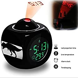 Projection Alarm Clock Wake Up Bedroom with Data and Temperature Display Talking Function, LED Wall / Ceiling Projection, Dinosaur-524.634_Tyrannosaurus, T, Rex, T-Rex, Dinosaur, Extinct