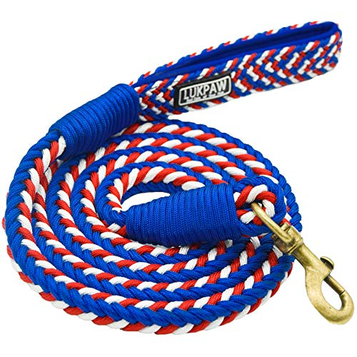 Braided Leash - LukPaw Handmade Braided Dog Leash - 6' Heavy Duty Nylon Rope with Padded Handle for Medium Large Dogs Climbing Hiking Walking Training-Blue