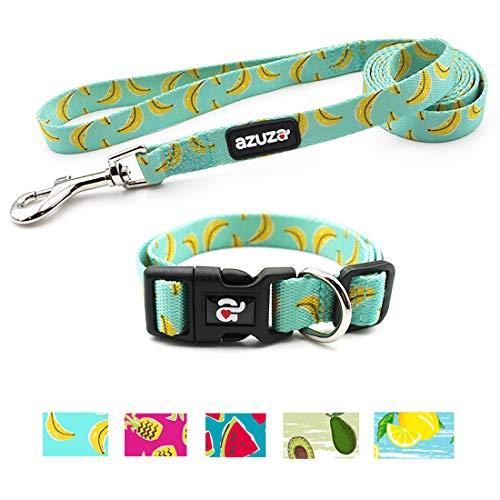 azuza Dog Collar and Leash Set, Adjustable Nylon Collar with Matching Leash,Banana,Medium ()