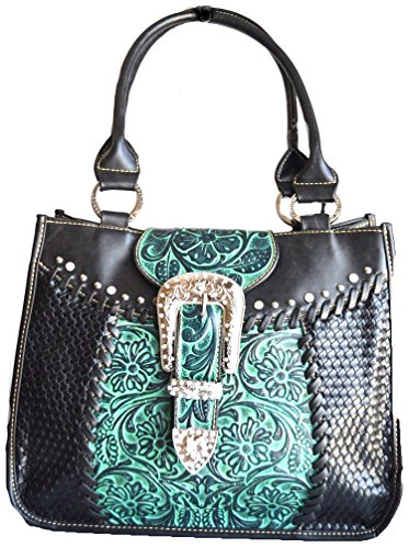Western Black Turquoise Buckle Tooled Purse
