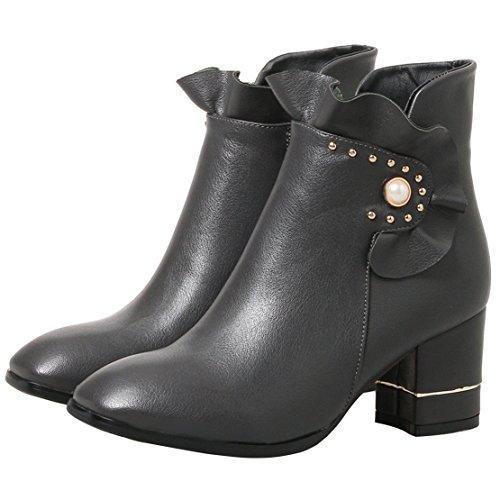 AIYOUMEI Damen Winter Blockabsatz Reißverschluss Kurz Stiefel mit Perle und 7cm Absatz Ankle Boots R74zc2cSET