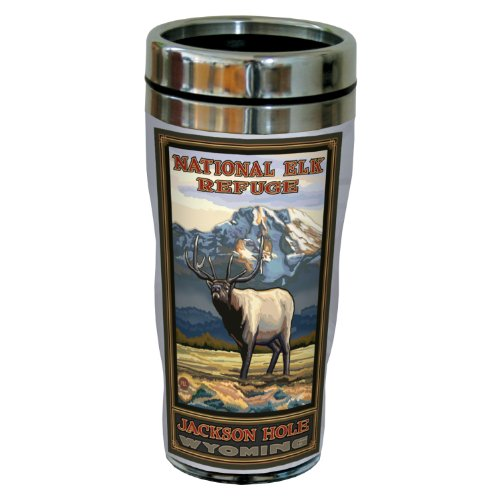 Ounce 16 Elk Tumbler - Tree-Free Greetings sg23175 Vintage Jackson Hole Wyoming National Elk Refuge by Paul A. Lanquist Stainless Steel Sip 'N Go Travel Tumbler, 16-Ounce