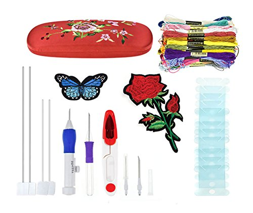 Magic Embroidery Pen Kit-Pounch Embroidery Needle Set-DIY Sewing Craft Tool for Embroidery Threaders-50 ColorRainbow Embroidery Floss-Thread by MENAK