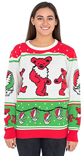 Ripple Junction Grateful Dead Bears with Steal your Face Ornaments Christmas Sweater (Adult Large) (Face Christmas Ornament)