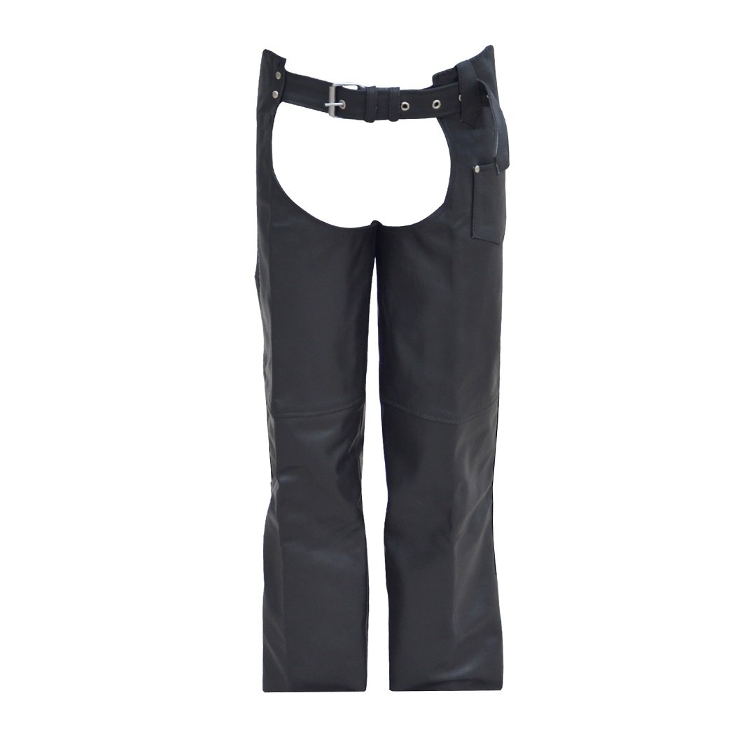 Men's Simple Model Black Leather Biker Motorcycle Chaps New (Small) BR-01SI