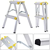 New 2 Step Aluminum Ladder Folding Platform Work Stool 330 lbs Load Capacity