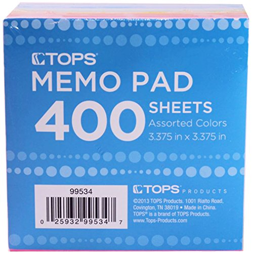 Tops Neon Memo Pad, Assorted Colors, 400 Sheets, 3.375 in x 3.375 in