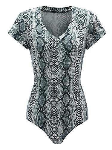 (MAKEMECHIC Women's Snakeskin Bodysuit V Neck Short Sleeve Stretchy Jumpsuit Tops Grey S)