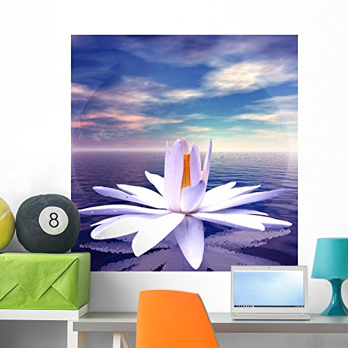 White Lotus Flower Reflected Wall Mural by Wallmonkeys Peel and Stick Graphic