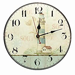 Nautical Lighthouse Decor Wall Clock Decorative Large Numerals Silent Non Ticking for Bathroom Kitchen Bedroom Living Room 13.5-Inch RELIAN
