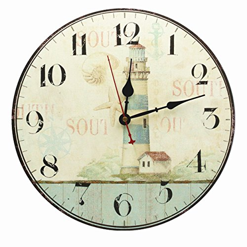 Lighthouse Decor Wall Clock Silent Non Ticking for Living Room Bathroom Kitchen Bedroom 12-Inch RELIAN (Decorative Items Sailing)