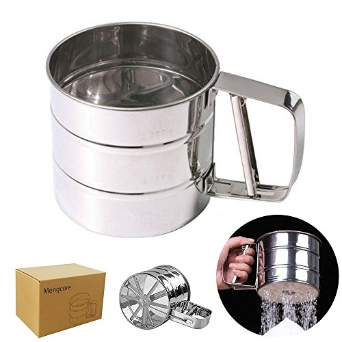 MENGCORE Baking Stainless Steel Shaker Sieve Cup Mesh Crank Flour Sifter with Measuring Scale Mark for Flour Icing Sugar