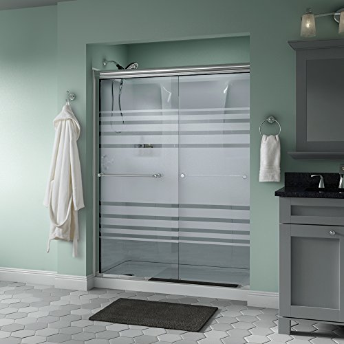 "Delta Shower Doors SD3172281 Windemere 60"" x 70"" Semi-Frameless Traditional Sliding Shower Door in Chrome with Transition Glass"