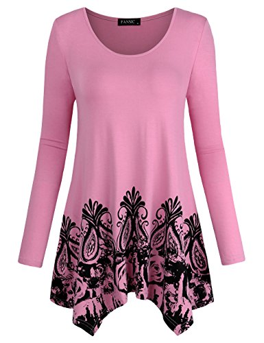Asymmetrical Top,FANSIC Womens Blouse Tops Pleated Sweater Fashion Chic Clothes Drape Hem Outwear Pink Medium (Pretty Spring)