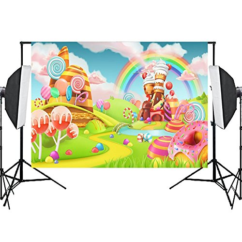Photo Background Candyland Backdrop Props Vinly Backdrops for Photography Birthday Party Studio video Sweet Rainbow Candy 7X5ft ()