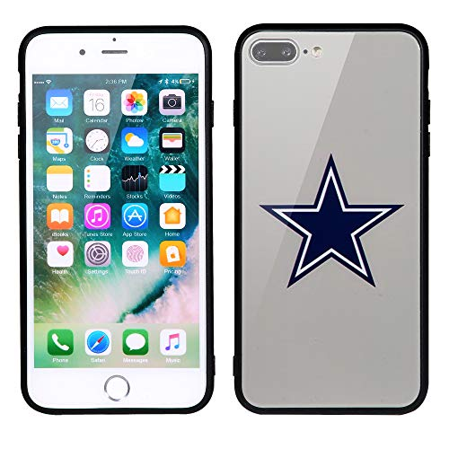 Cowboys Dallas Case Nfl (Sportula NFL Phone Case - 9H Tempered Glass Back Cover and Silicone Rubber Bumper Frame Compatible Apple iPhone 8 Plus / 7 Plus (Dallas Cowboys))