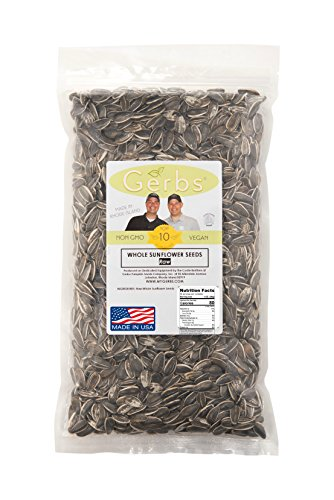 Raw Sunflower Seeds In Shell by Gerbs – 2 LBS - Top 11 Food Allergen Free & NON GMO - Vegan & Kosher - Seed Country of Origin USA - Premium Domestic Whole Seeds