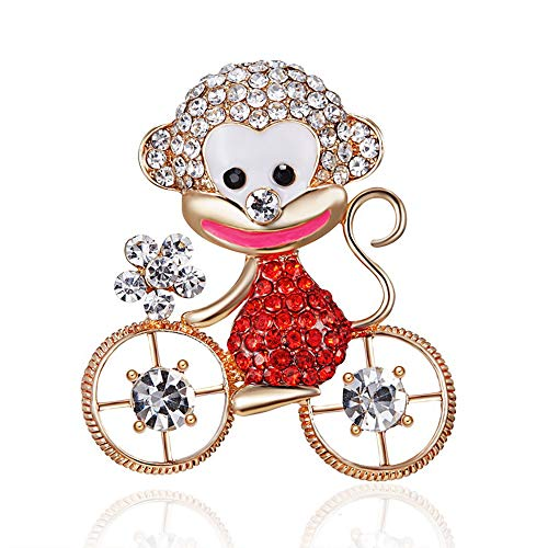 Eiffy Crystal Cartoon Monkey Bicycle Bike Brooch for Women Party Brooches Pin Collar Suit Scarf Decoration Animal Jewelry (Red)