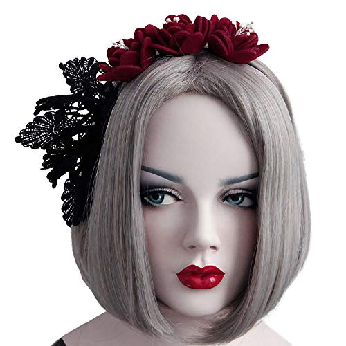 Rose Noir Women Girls Black Gothic Rose Lace Headband Spiderweb Reindeer Witch Hair Accessories Halloween Christmas Party (Flower bouquet -01)