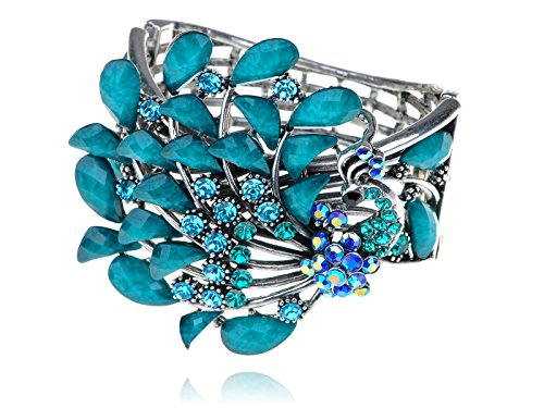 [Alilang Silvery Tone Turquoise Blue Colored Stones Vintage Peacock Bird Cuff Bracelet] (Colored Stone Costume Jewelry)