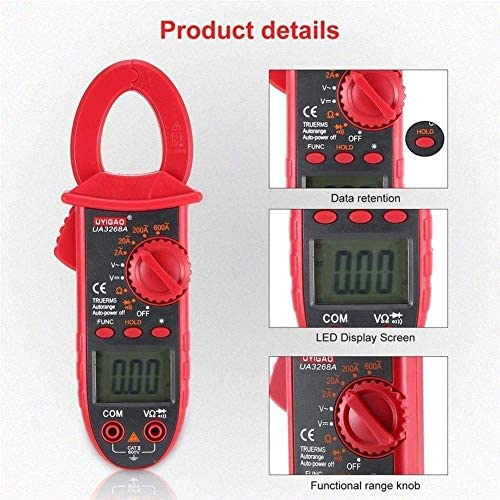 ZYL-YL Digital Clamp Meter Multimeter AC/DC Volt Ohm Resistance Diode Continuity Tester with Backlight Data Hold UA3268A