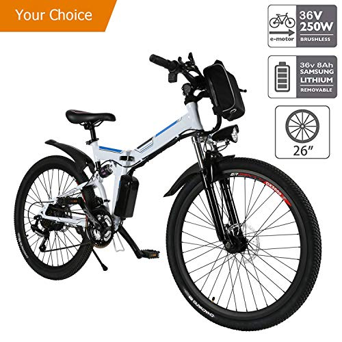 Aceshin 26'' Electric Folding Mountain Bike with Removable Large Capacity Lithium-Ion Battery (36V 250W), Electric Bike 21 Speed Gear and Two Working Modes(US Stock)