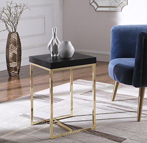 Iconic Home Moyra Nightstand Side Table with Ash Veneer Top Brass Brushed Stainless Steel Base, Modern Contemporary, Black