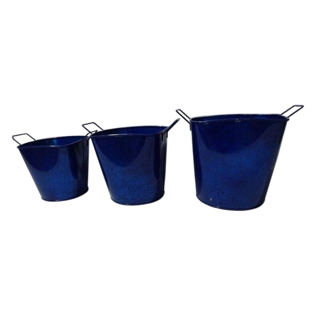 3 Stück, Blau Glänzend Metalleimer, Verzinkt, Deko