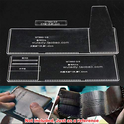 WUTA Men Trifold Wallet Acrylic Template Set Leathercraft Pattern Cutting Model for DIY Making Vintage Male Wallet Purse WT850 (Tri Fold Templates)