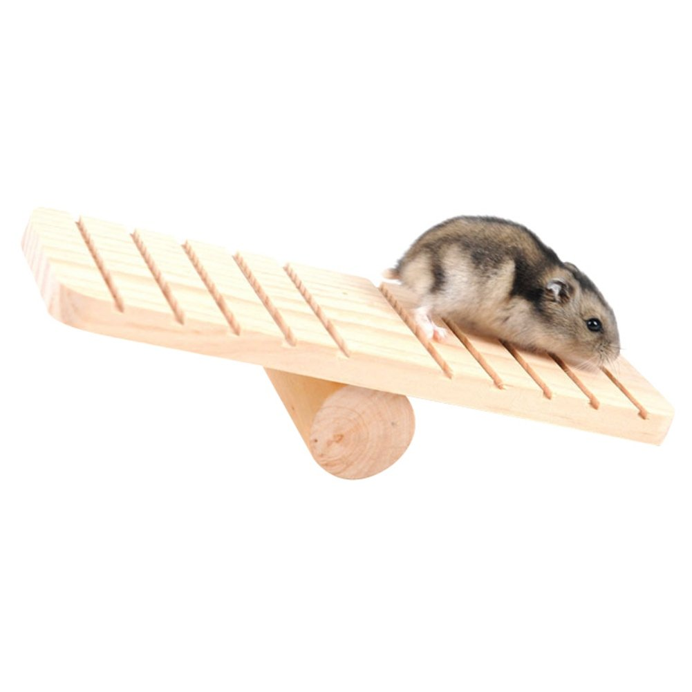 KAYI Wood Cask Seesaw Toy for Small Animals Dwarf Hamster Mice Playground