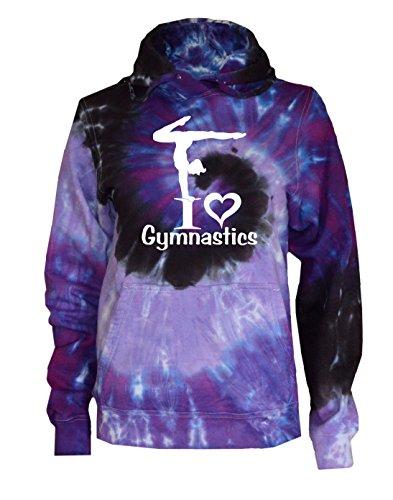 JANT girl Gymnastics Tie Dye Sweatshirt - I Love Gymnastics Logo (Purple Twist, YM)