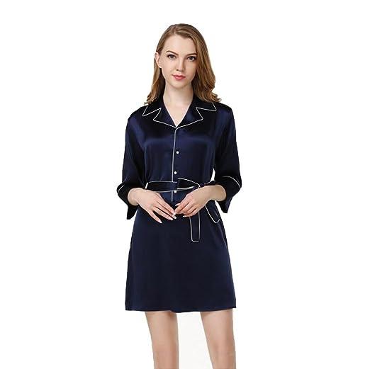 Mujer 100% Seda Pura Pijama Vestido de Dormir Suave Frío Cómodo ...
