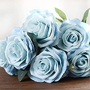 Artificial Flower Bouquet For Wedding 10 Heads French Rose Fake Flower Arrangement Floral Silk Flower For Home Party Table Decor blue 1