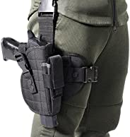 Drop Leg Holster Thigh Holster - Molle Airsoft Holster with Magazine Pouch Thigh Pistol Gun Holster Tactical A