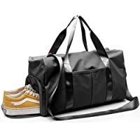 Gym Duffle Bag, Water Resistant 3 Ways Carry Sports Shoulder Bag with Shoes Compartment and Wet Pocket for Training, Gym, Traveling [Black]