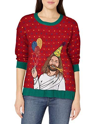 Blizzard Bay Women's Ugly Christmas Jesus Sweater, Red/Green, Medium (Cheesy Christmas)