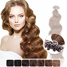 Neitsi 20″ 25s/lot 1g/s Jet Black 100% Remy Human Hair Nail U Tip Hair Extension Natural Wave (1#)